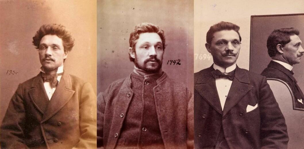 Fengselsbilder av Borgenstjerne - de to første før 1887, det tredje i 1902. Foto: Oslo politikammers forbryteralbum / Digitalarkivet