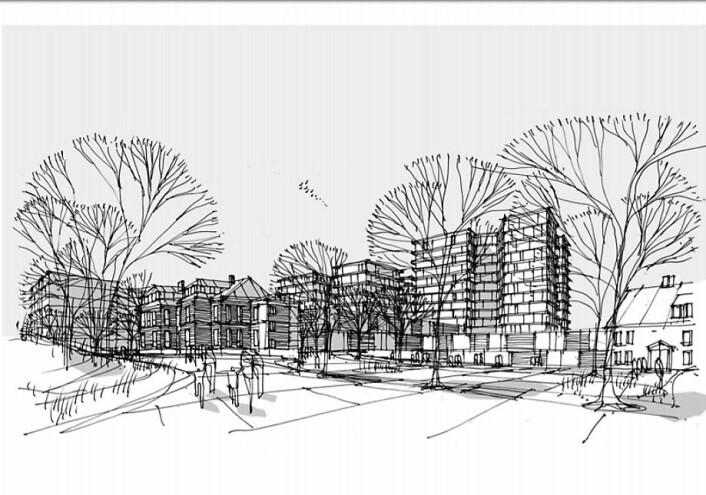 Nye Aker sykehus sett med arkitekters øyne. Illustrasjon: Nordic/Aart/HSØ