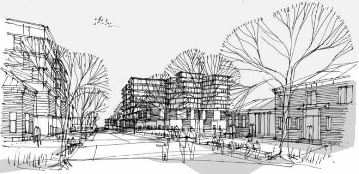 Slik kan det bli seende ut inne på sykehusområdet når nye Aker sykehus står ferdig. Illustrasjon:Nordic/Aart/HSØ