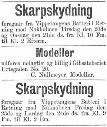 Annonse i Aftenposten, tirsdag 20. juni 1882. Den varsler også planlagt skarpskyting fra vippetangens batteri i retning Nakholmen. Kilde: Nasjonalbiblioteket