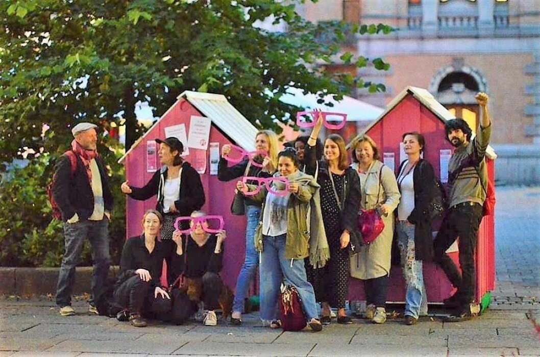 Feministisk Initiativ mobiliserer for miljø, likestilling og antirasisme ved valget i Sverige. Foto Cathrine Linn Kristiansen