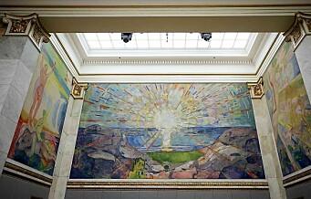 11 malerier av Edvard Munch blir tilgjengelige for folk flest i universitetets aula