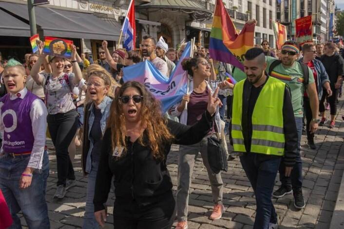 En brei allianse av organisasjoner protesterte mot rasisme i Oslo sentrum i dag. Foto: Morten Lauveng Jørgensen