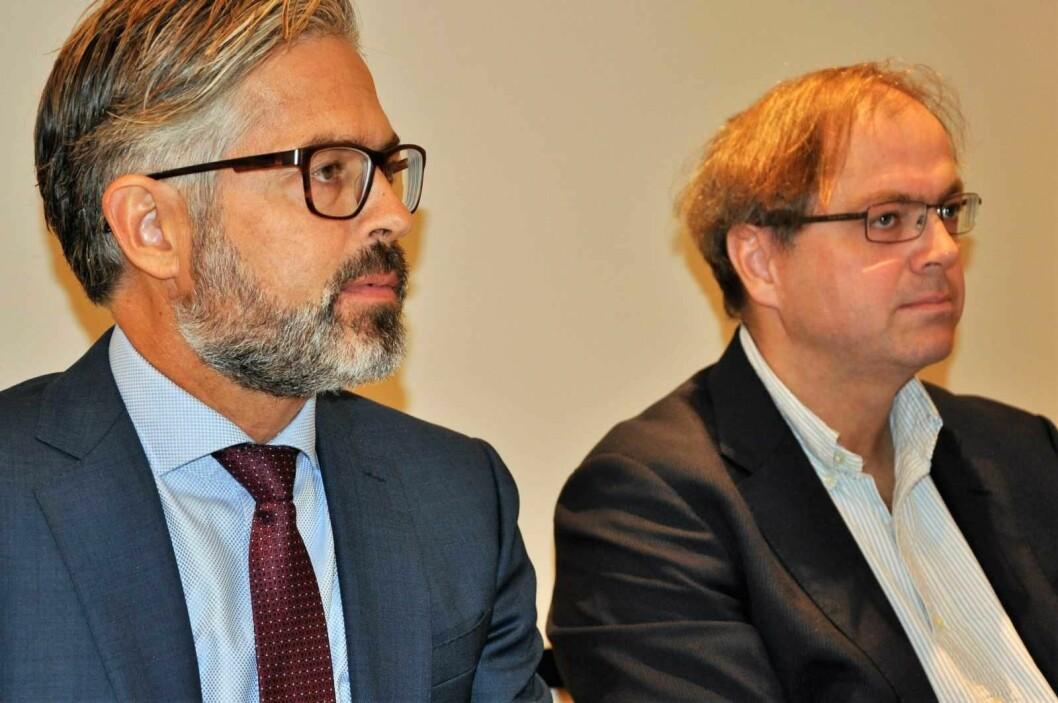 Advokat Thorvald Nyquist (til v.) og oppdragsansvarlig Stein Ove Songstad i revisjosnbyrået Deloitte la frem granskingsrapporten som har kostet over 13 millioner kroner. Foto: Arnsten Linstad