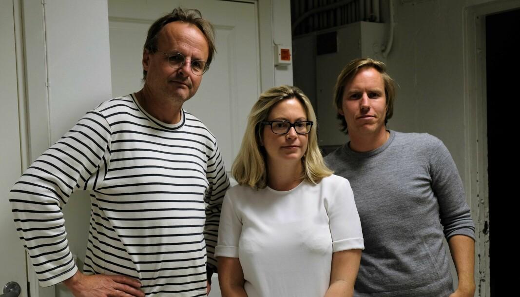 Naboene Håkon Wium Lie (t.v), Mirijam Abrahamsen og Gjermund Granlund har siden 2017 kjempet mot Bane NORs utbyggingsplaner i Brynsbakken.