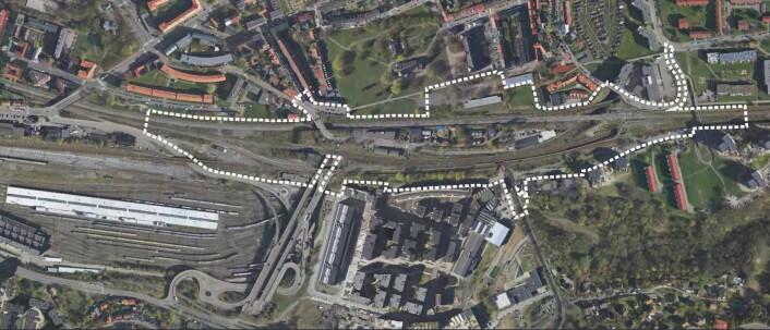 Et luftfoto av området som er planlagt brukt til nye togspor. Foto: Bane NOR