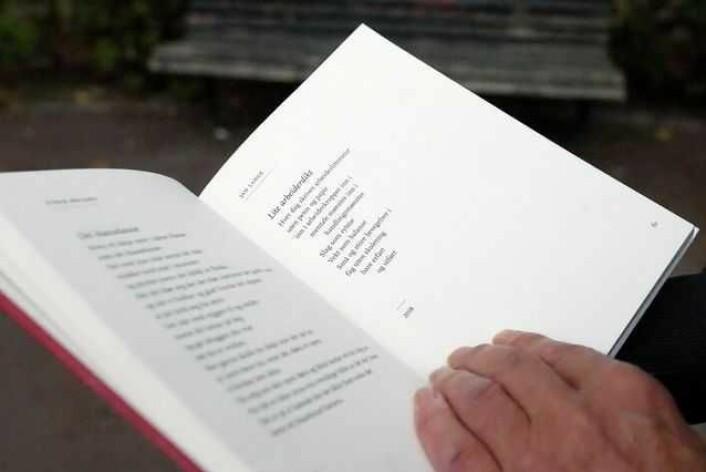 """Rett ved siden av et dikt av forfatteren Einar Økland står Jan Lange sitt dikt """"Lite arbeiderdikt"""". Foto: Roy Ervin Solstad"""