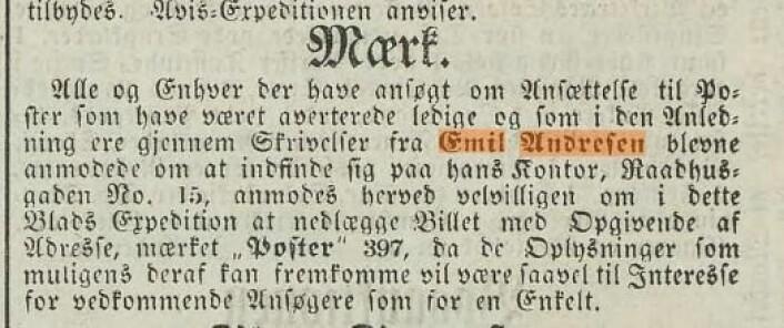 Den mystiske annonsen i Christiania Intelligenssedler, 28. april 1865.