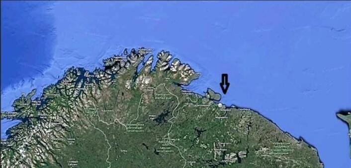 Her, på Kolahalvøya, langs kysten øst før Finnmark, endte flaskeposten opp.
