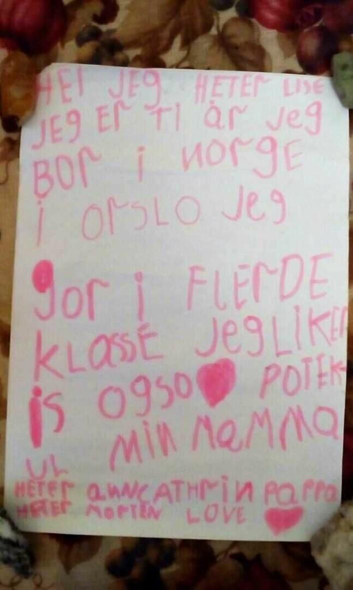 Brevet fra Lise seilte langs store deler av den lange norskekysten og endte i Russland.