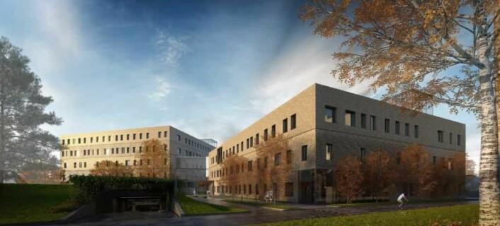 Slik ser arkitektene for seg at den nye storbylegevakten på Aker vil bli seende ut. Illustrasjon: Omsorgsbygg KF / Nordic
