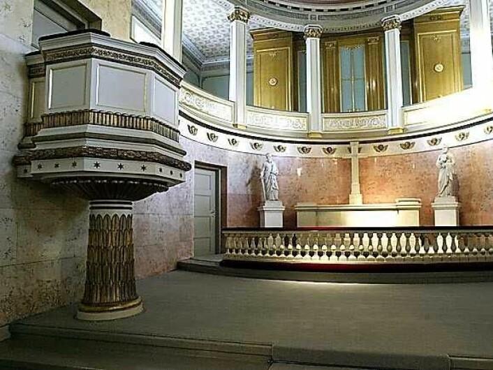 Slottskapellets prekestol. Foto: Kjartan Hauglid, Det kongelige hoff