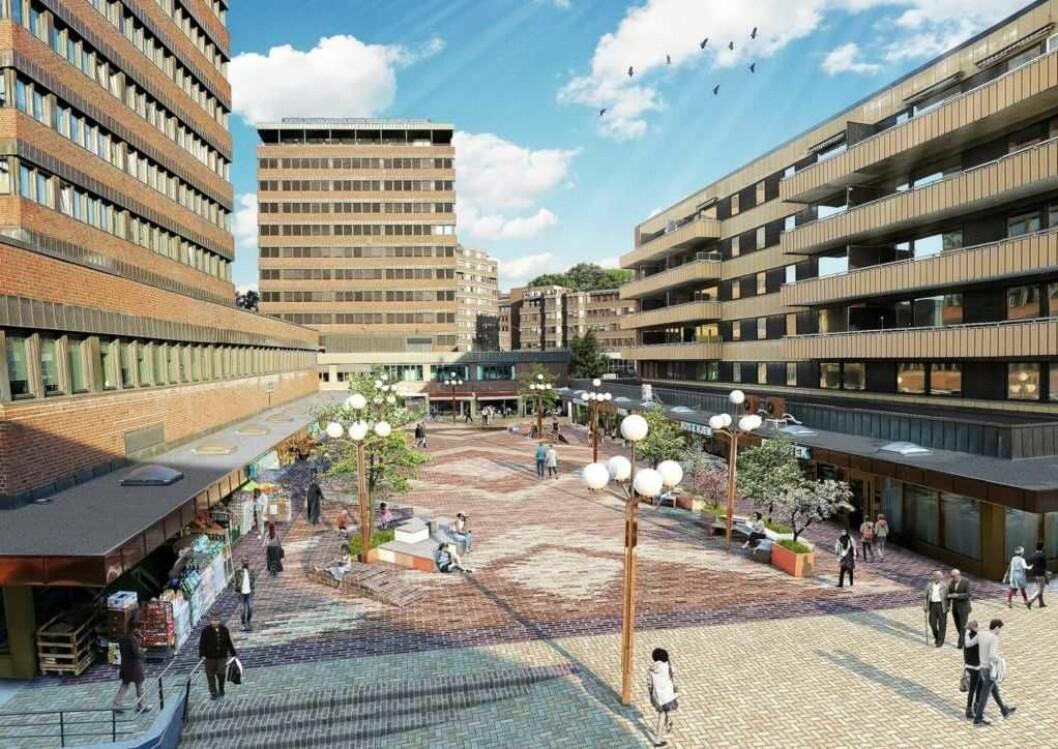 Slik presenterte bymiljøetaten sin visjon for Tøyen torg. I løpet av høsten skal torget stå ferdig. Nær fem år etter at Tøyenløftet ble vedtatt med Høyre, KrF, Venstre og SVs stemmer i Oslos bystyre. Illustrasjonsfoto: Bymiljøetaten