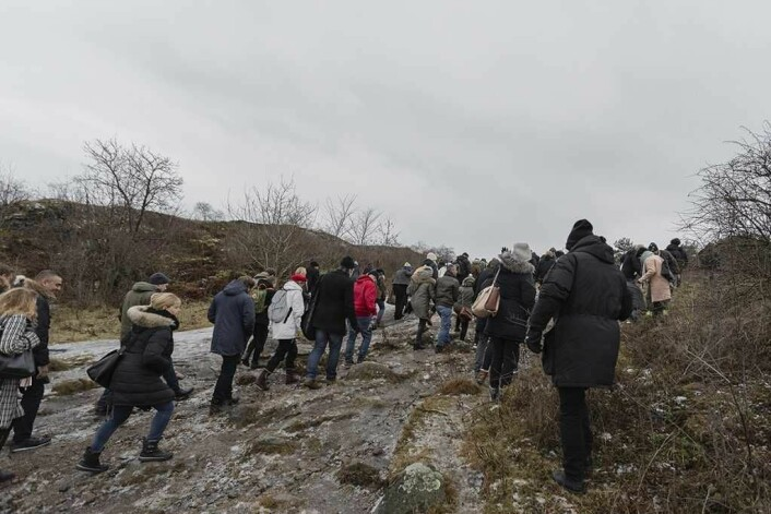 Det var folksomt på Gressholmen vinteren 2017 da Oslo kommune holdt visning på den da nyrestaurerte Gressholmen kro. Foto: Stine Raastad