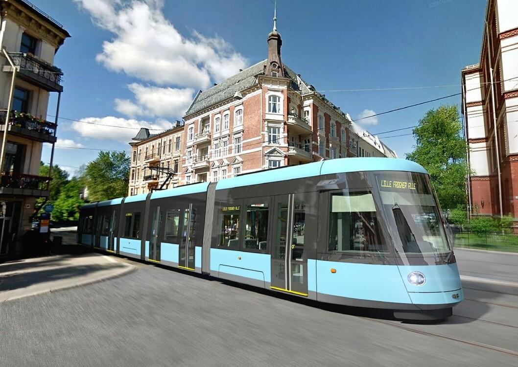 I 2024 skal alle de 87 nye trikkene være på plass i Oslo. Foto: Sporveien