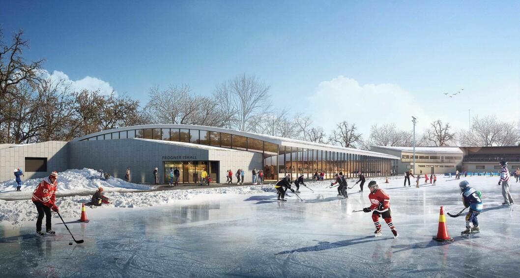 Det nye ishallen skape gode muligheter for kunstløpere og hockeyspillere. Illustrasjon: Dyrvik Arkitekter AS