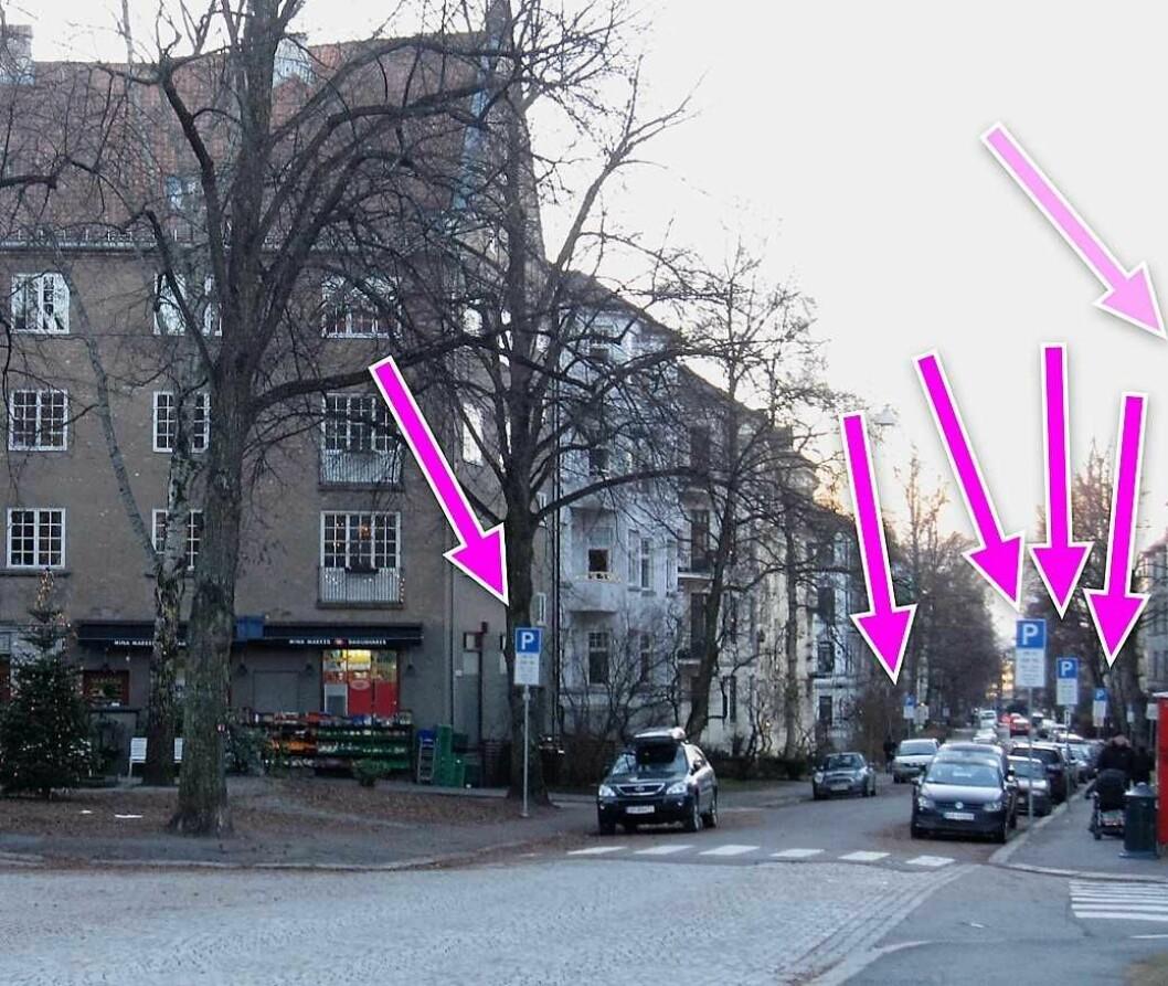 Beboerne på Jessenløkken har fått nok av skiltjungelen i Jacob Aallsgate gate. Fotomontasje av beboer Angela Amoroso