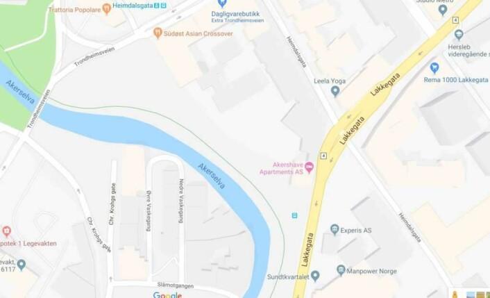 Her ser vi strøket mellom Lakkegata og Trondheimsveien. Kart: Google Maps