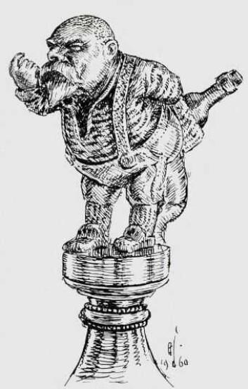 Nils Gladelig er udødeliggjort på toppen av Kunstnerforeningens punsjebolle. Punsjebollen er utført av Brynjulf Bergslien, som også har laget Karl Johans rytterstatue.