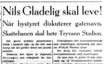"""Aftenposten kjørte på med overskriften """"Gladelig skal leve!"""" på forsiden når Nils Gladelig faktisk fikk gatestumpen oppnevnt etter seg."""