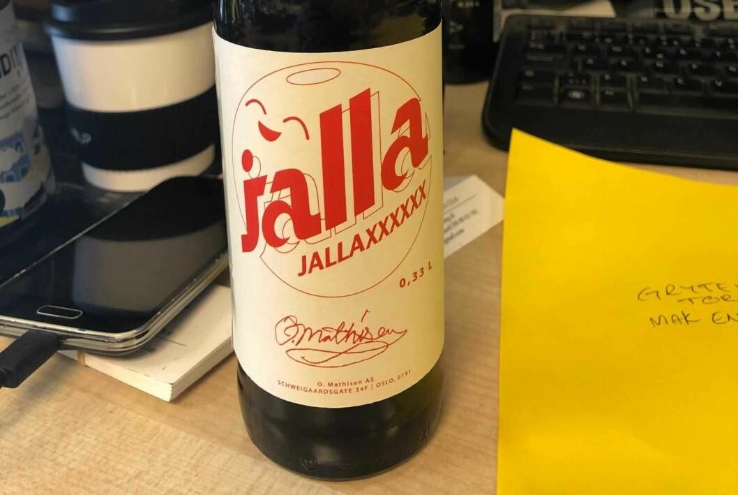 Slik ser det nye merket til Jallasprite ut. Det var det beste navnet, ifølge Rikard Svensk. Foto: O. Mathisen
