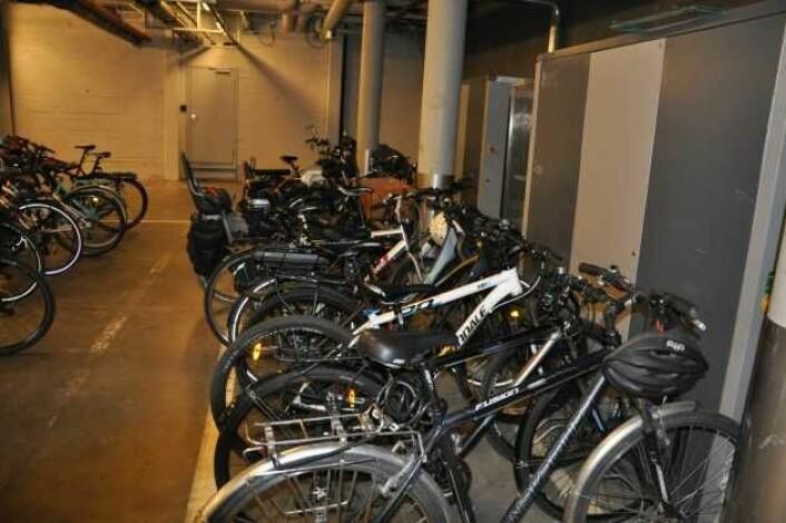 Dette er den eksisterende sykkelparkeringen i kjelleren på rådhuset. Men når to tredjedeler av bilene forsvinner, blir det plass til 200 flere sykler. Foto: Arnsten Linstad