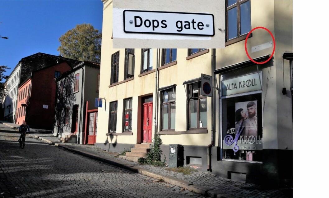 Over denne frisørsalongen skulle skiltet til Dops gate hengt. Foto: Anders Høilund