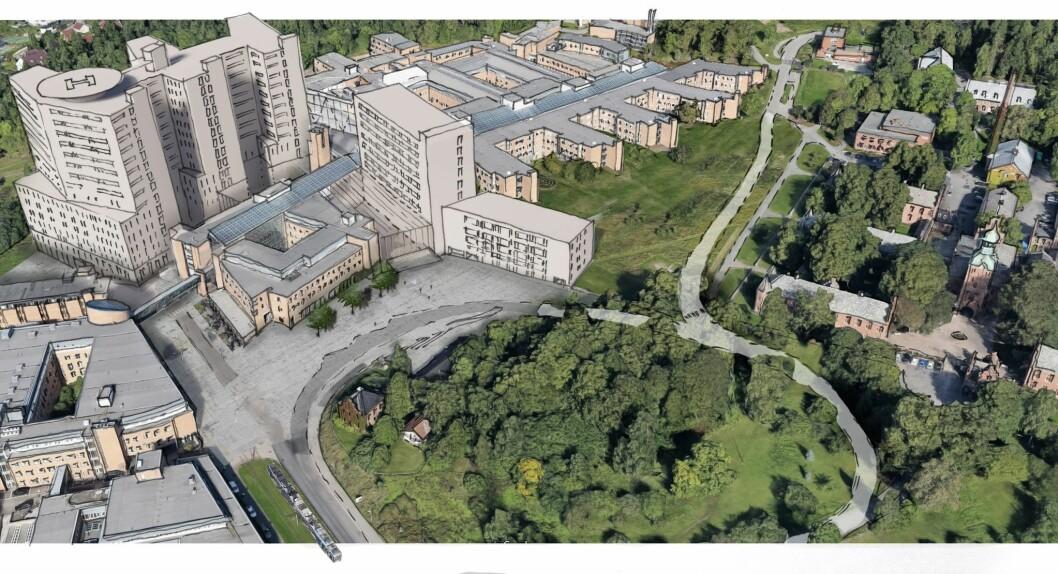 LO i Oslo støtter forslaget om å utsette byggingen av nytt Gaustad sykehus. Kritikerne advarer mot at tomten er trang og vanskelig. Illustrasjon: Ratio Architema architects