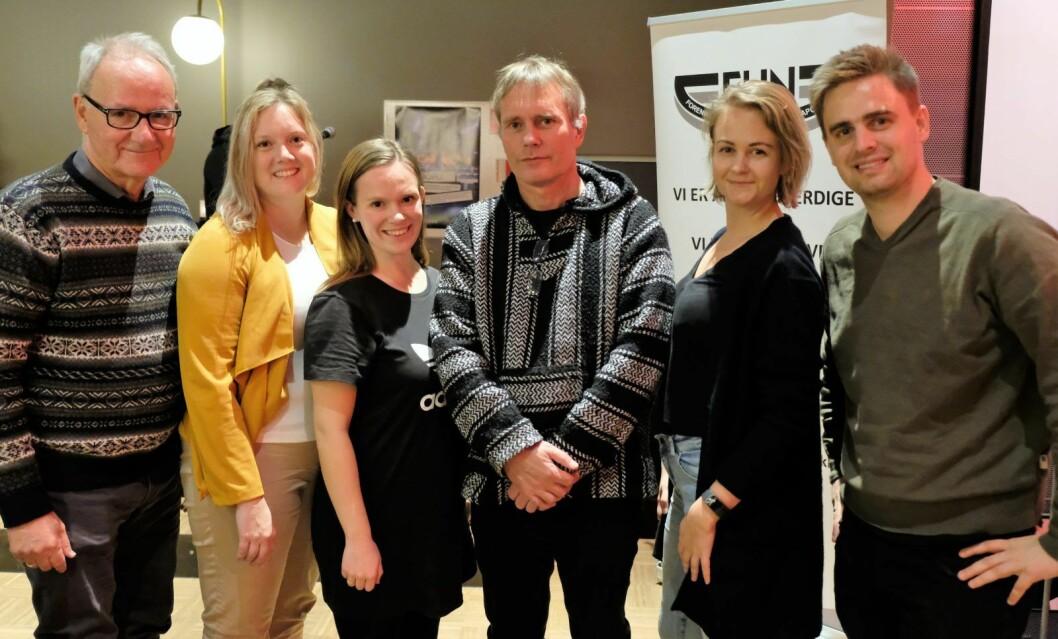 Et flertall av partiene i bystyret slår ring om Arild Knudsens ønske om et fristed for tunge narkomane i Oslo sentru,. Fra venstre: Ivar Johansen (SV), Aina Stenersen (Frp), Mari Morken (Ap), Juliane Ferskoug (V) og Eivind Trædal (MDG). Foto: Christian Boger
