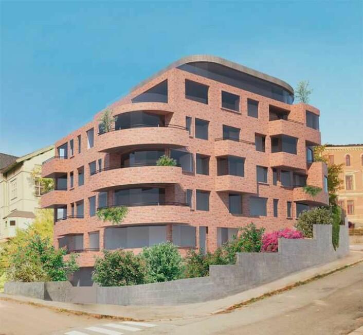 Slik ser det planlagte eiendomsprosjektet i Eugenies gate 12 på Bolteløkka ut. Men nå blir tomta etter alle solemerker i stedet skolegård for ungene ved Bolteløkka skole. Illustrasjon: Eiendomsegler 1