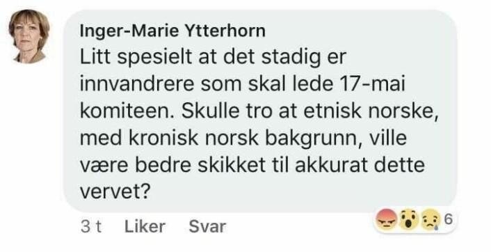 Dette er en skjermdump av det opprinnelige Facebook-innlegget Inger-Marie Ytterhorn la ut lørdag kveld. Som hun senere slettet og erstattet med innlegget vist lenger opp i denne artikkelen. Så ble det siste innlegget også slettet fra Frp`erens Facebook-side.