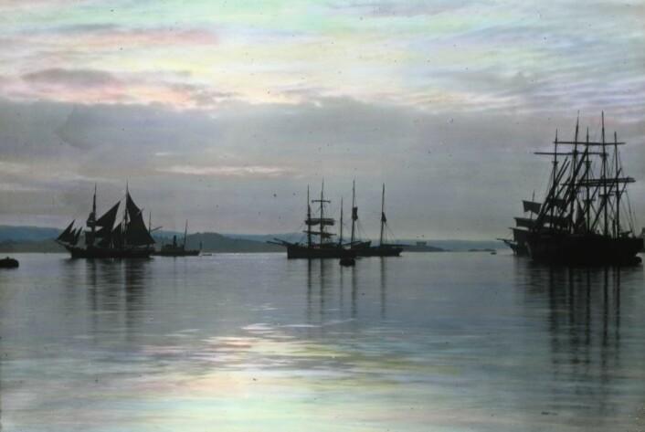 Seilskuter ligger fortøyd i havnebassenget til Oslo havn i 1901. Foto: Anders B Wilse Oslo Museum