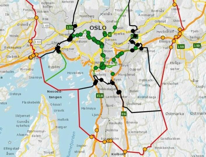 De grønne prikkene viser hvor de nye bomstasjonene kommer i mars neste år. Illutrasjon: Statens vegvesen