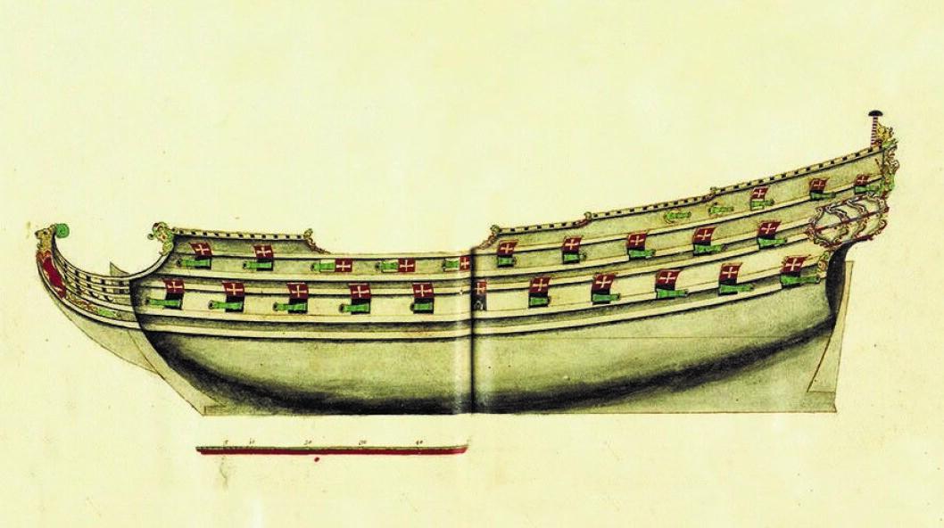 Fregatten Gyldenløve ble bygget på Hovedøya i 1669.  Illustrasjon: Boka Maritime Oslo. Fra vikingby til Fjordby