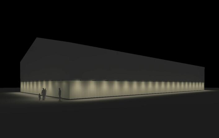 En tegning av den nye hallen som skal fungere i fire år. Illustrasjon: Kultur- og idrettsbygg