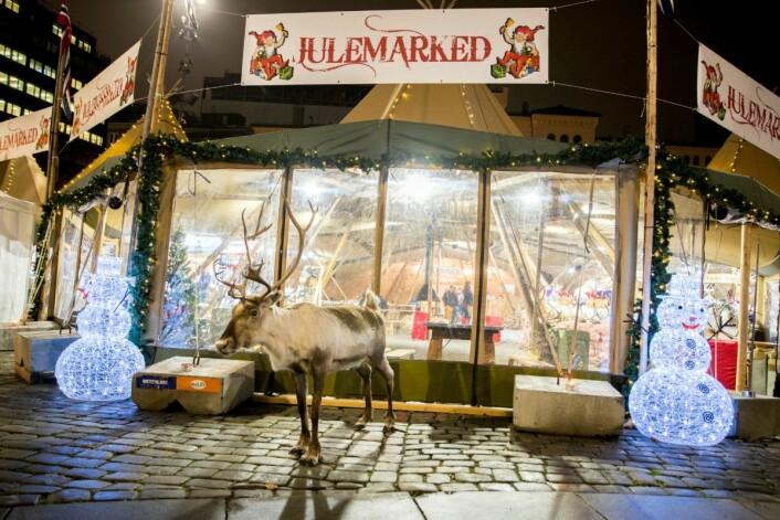 Julemarked på Youngstorget, med reinsdyr og snømann.<br />Foto: Vidar Ruud / NTB scanpix