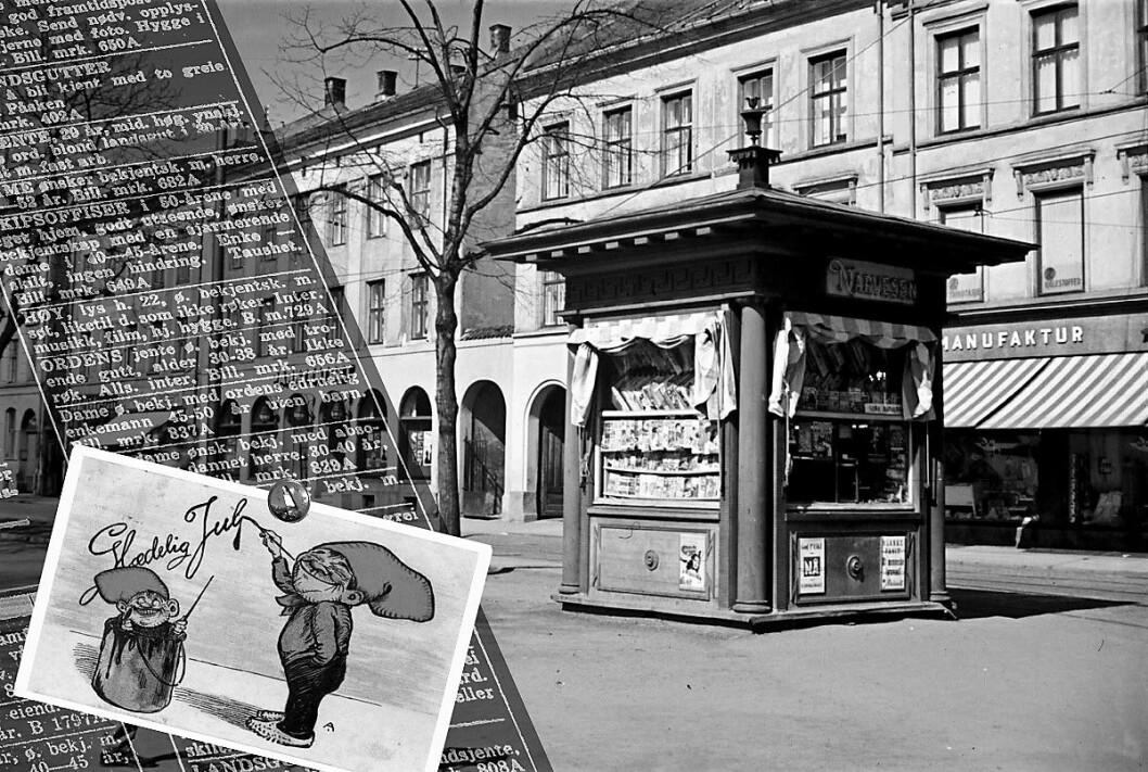 Narvesenkiosk, stapp full med kontaktannonser. Foto: Ottar Gladtvedt/Oslo Museum