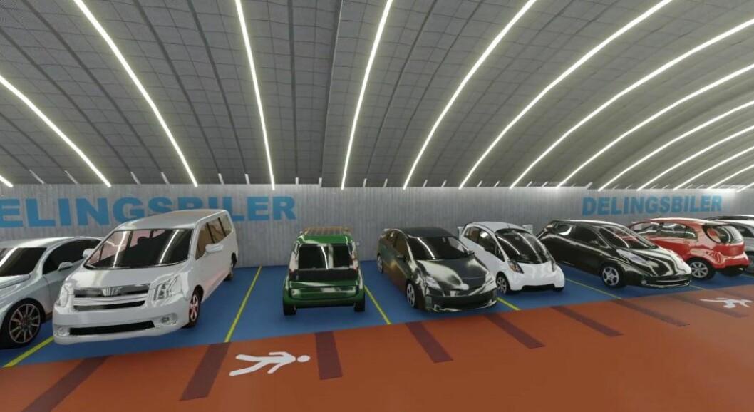 På nettsidene til Grønnere Oslo står det at det såkalte mobilitetshuset på Frogner skulle huse 600 biler. Blant annet delingsbiler, elbiler og scootere. Illustrasjon: Niels Torp/Grønnere Oslo