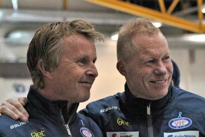 """Espen """"Shampo"""" Knudsen og Roy Johansen har hat mye å smile over så langt i sesongen. Men mot Oilers ble det nederlag. Foto: André Kjernsli"""