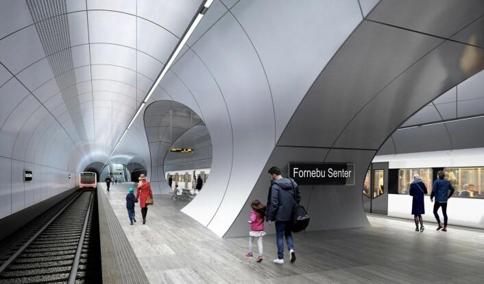 Sånn kan T-banen på Fornebu komme til å se ut. Illustrasjon: Zaha Hadid Architects og A-lab