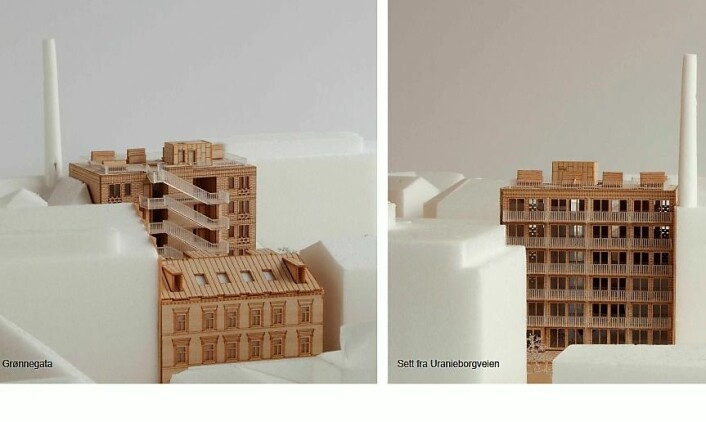 Dette er bilder fra Grape arkitekter som ble sendt til plan- og bygningsetaten i Oslo kommune. Illustrasjon: Grape arkitekter