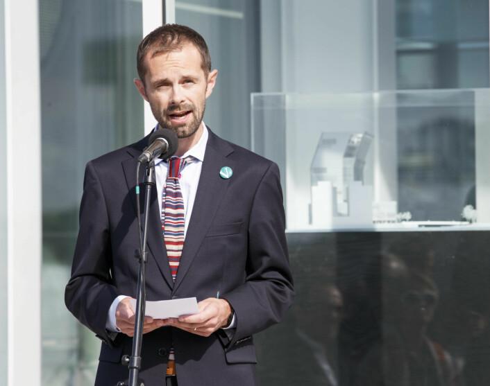 Daværende kulturbyråd Hallstein Bjercke (V) tok det første spadetaket for det nye Munchmuseet i Bjørvika rett før valget i 2015. Valget vant de rødgrønne og Bjercke gikk tilbake til bystyret. Foto: Gorm Kallestad / NTB scanpix