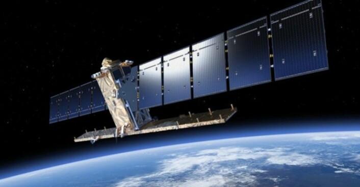 EU har romprogrammet Copernicus, som henter InSAR-data med to satellitter, kalt Sentinel-1A og Sentinel-1B. Illustrasjon: ESA
