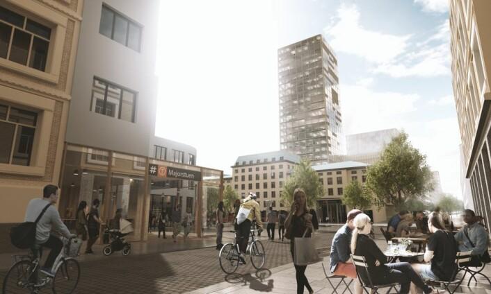 Byplan sjef Ellen de Vibe har vært positiv til Ruters idéer tidligere. Men foreløpig sier plan- og bygningsetaten nei til gigantutbyggingen ved Majorstua. Illustrasjon: Ruter / Asplan Viak