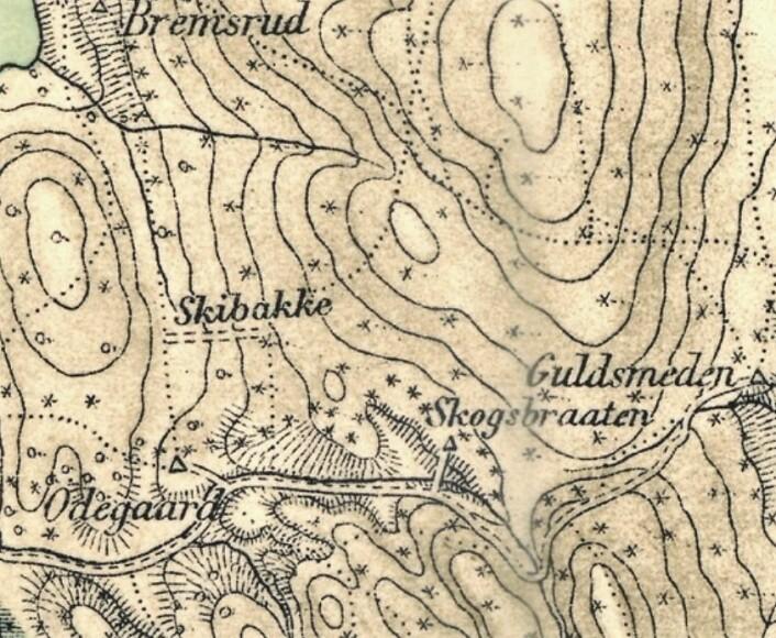 Gammelt kart viser tydelig hvor Frambakken lå.