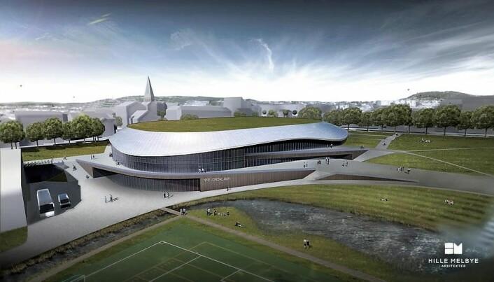 Nye Jordal Amfi slik arkitektene har sett det for seg. I 2020, to år forsinket, skal Vålerengas nye hjemmebane stå klar. Nøyaktig der den gamle OL-arenaen fra 1952 lå. Illustrasjon: Hille Melbye arkitekter