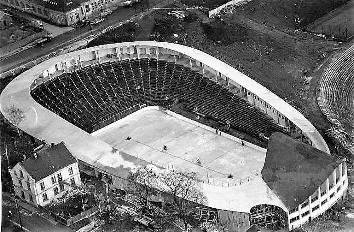 Da Jordal Amfi var OL-arena i 1952, ble kampene spilt med himmelen som tak. Foto: Oslo museum