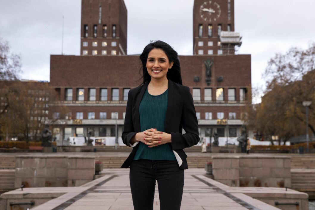 Saida Begum ble sammen med Eirik Lae Solberg mandag kveld valgt ved akklamasjon til å være Oslo Høyres to toppkandidater ved neste høsts kommunevalg. Foto: Tore Meek / NTB scanpix
