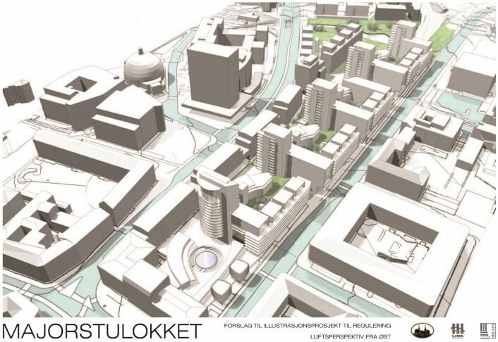 Denne illustrasjonen fra Oslo Sporveier (nå Ruter) i 2003 utløste enorme protester fra folk på Majorstua. Og resulterte i plansmien artikkelforfatter Audun Engh refererer til i sitt debattinnlegg. Illustrasjon: Oslo sporveier