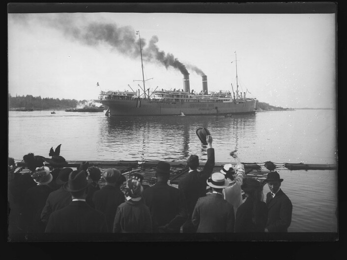 Mellom 1. januar 1913 og 31. desember 1930 fartet Kristianiafjord mellom Norge og Amerika. Foto: Narve Skarpmoen / Nasjonalbiblioteket